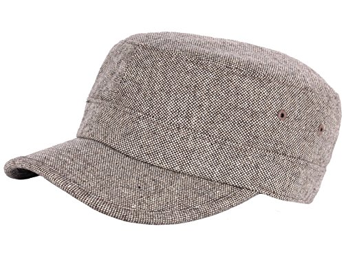 RaOn A123 Homespun Harris Donegal Tweed Pattern Fabric Army Cap Cadet Military Hat (Military Tweed Hat)