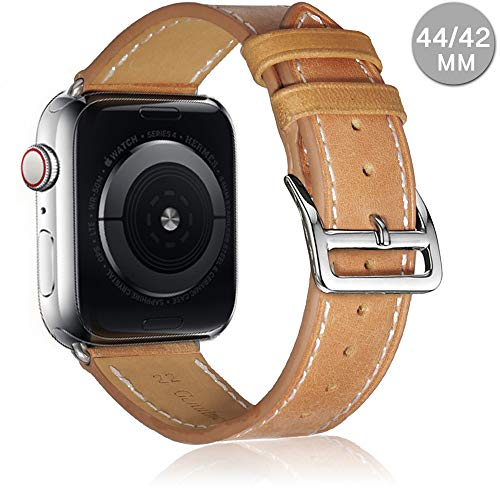 - Compatible with Apple Watch Leather Band Series 4 (44mm) Series 3 Series 2 Series 1 (42mm) | Premium Genuine Leather Replacement Band (Camel Brown, 44mm/42mm)