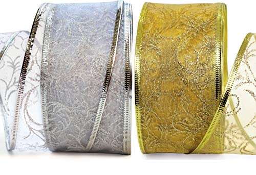 Xmas Ribbon - Ribbons Set 25 Yard Gift Wrap Ribbon Wired 2.5 inch Gold & Silver Sheer Organza 2 Pack Rolls 50 Yd Kit for Craft, Wedding Decoration, Christmas Tree, Florist, Holiday Gifts (Making Bow For Wreath With Wired Ribbon)