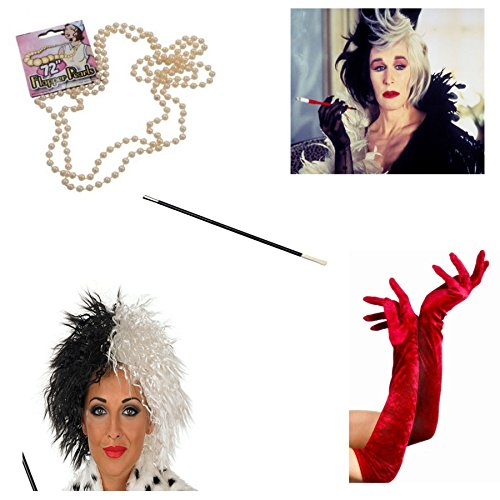 [NeonCandyUK Big Girls' Cruella De Ville Costume Fancy Wig Cigarette Holder Gloves One Size Red] (Cruella De Vil Costume Makeup)