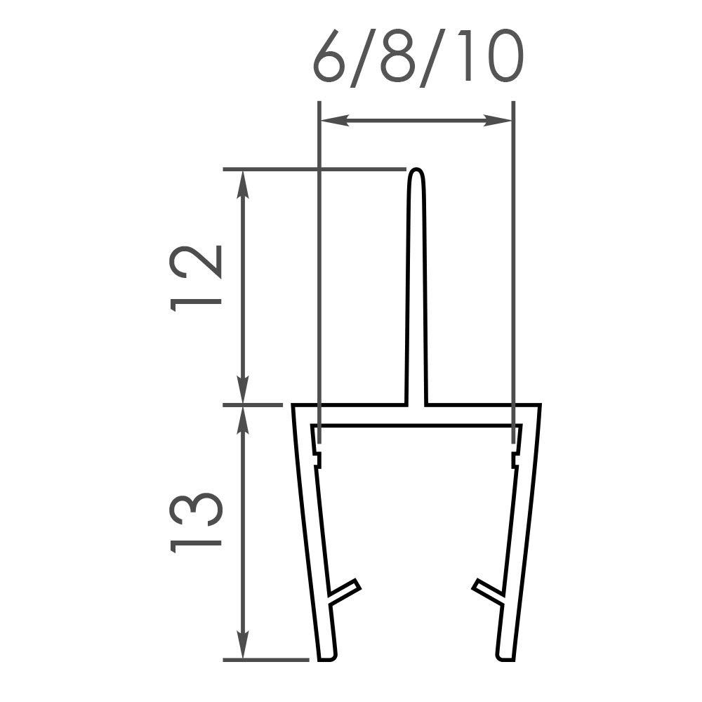 GLASDICHTUNG VA001 6 MM GLAS L/ÄNGE 80cm Dichtung Duschdichtung Ersatzdichtung