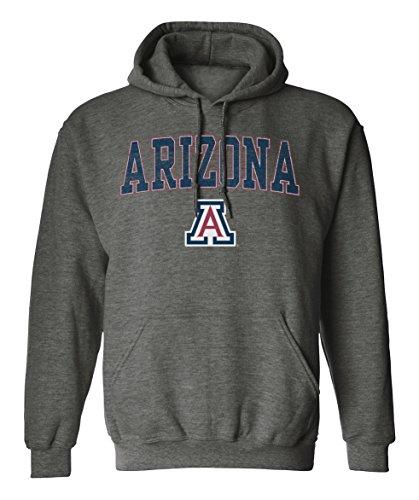 Old Varsity Brand NCAA Arizona Wildcats Pigment Dye Pullover Hood, Medium, Dark Heather -