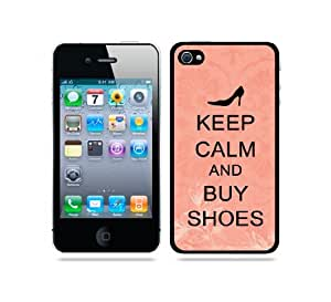 Keep Calm And Buy Shoes Coral Floral - Protective Designer BLACK Case - Fits Apple iPhone 4 / 4S / 4G