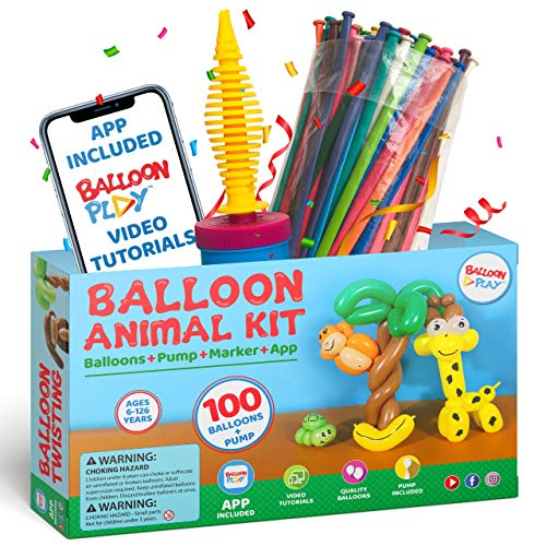 Balloon Animal Kit for beginners and App | 100 long twisting balloons for balloon animals, Pump and Balloon App with 24+ video tutorials, fun gift for Boys, Girls & Adults of all ages by BalloonPlay