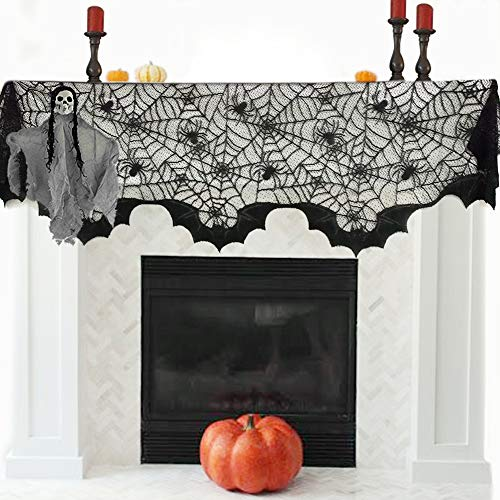 OTBBA Halloween Decorations, Spiderweb Fireplace Mantle Scarf Black Lace Cobweb Cover 20