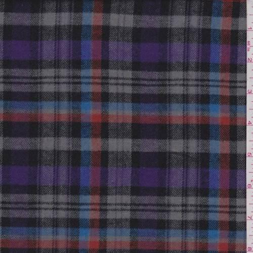 Grey/Purple Plaid Flannel, Fabric By the Yard