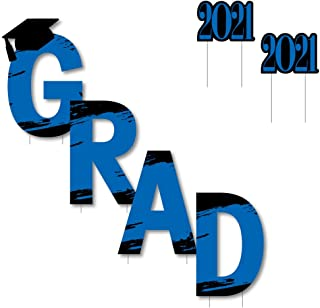 product image for Big Dot of Happiness Blue Grad - Best is Yet to Come - Yard Sign Outdoor Lawn Decorations - Royal Blue 2021 Graduation Party Yard Signs - Grad