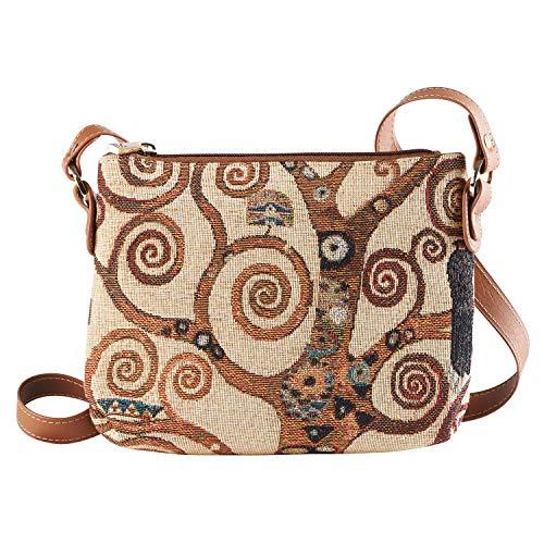 Signare Tapestry Ladies Fashion Crossbody Shoulder Bag Gustav Klimt Tree of Life (XB02-ART-GK-TREE)