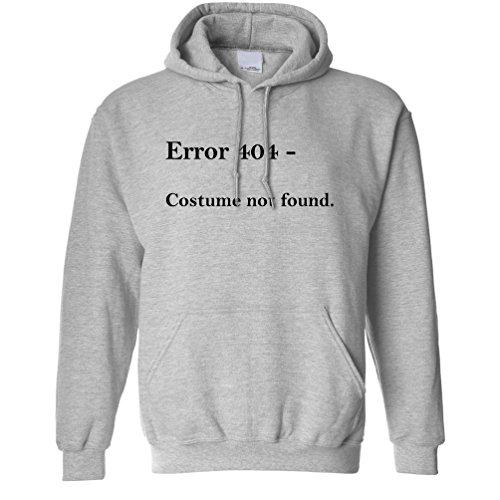 Nerdy Halloween Unisex Hoodie Error 404, Costume Not Found Grey S ()