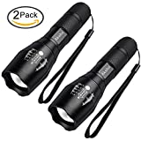 Akaho Tactical Flashlight, LED Handheld Flashlight Portable Outdoor Water Resistant Torch Ultra Bright with Adjustable Focus and 5 Light Modes(2 pack)