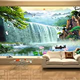 Pbldb 3D Waterfalls Nature Scenery Mural Wallpaper Living Room Tv Sofa Study Background Wall Paper Home Decor-350X250Cm