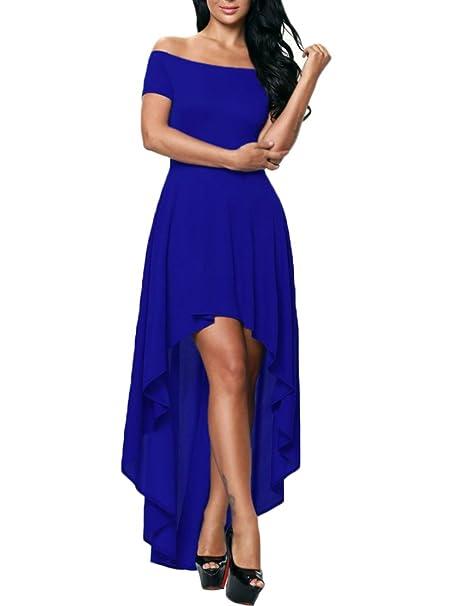 Minetom Mujer Elegante Vestidos Largo Dobladillo Irregular de Sin Tirantes Manga Corta de Cóctel Maxi Dress