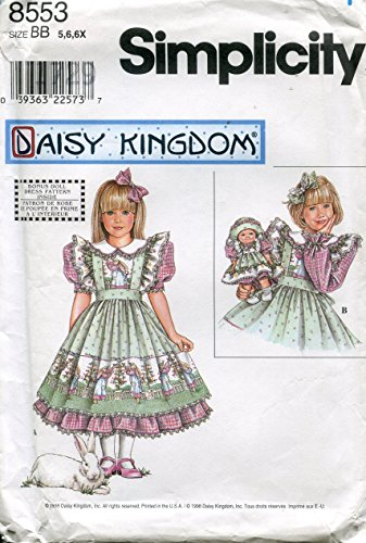 - Simplicity Daisy Kingdom Pattern 8553 Girl's Dress and Pinafore, Clothes for 13-Inch Doll, BB (5-6-6X)