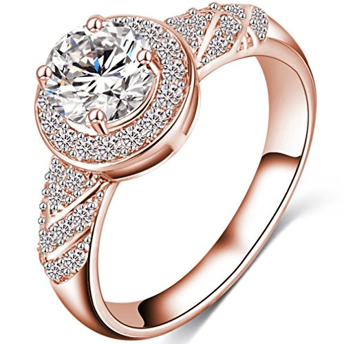 Best Promise Rings for Her FENDINA Womens Gorgeous Wedding Engagement Rings - Pretty Solitaire CZ Crystal - 18K Rose Gold Plated