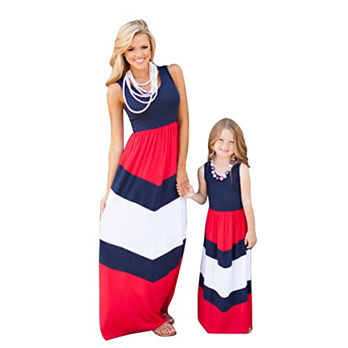 Daxin Mother&Daughter Stripe Stitching Dress Casual Family Clothes Maxi Dress