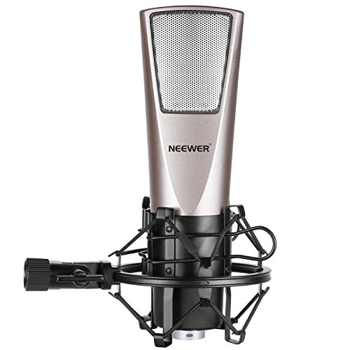 Neewer Cardioid Condenser Microphone(Steel Mesh) with Spider Shock Mount, Y-Converter Splitter Cable, 3.5MM Male to XLR Female Cable and Foam Cap for Professional Studio Recording Broadcasting (NW6)