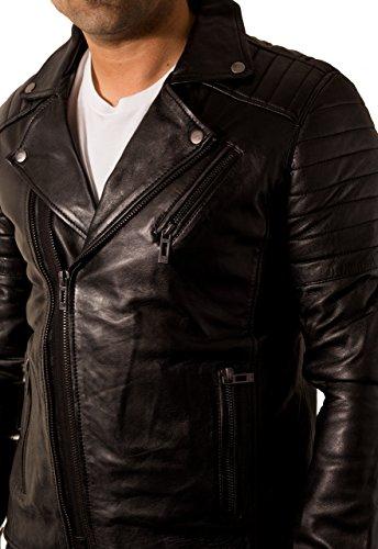 Arredata Pelle Brando Di Chiusura Retro In Uomo Trapuntato Lampo Nero Con Double Side Giacca S4qxpw6TtW
