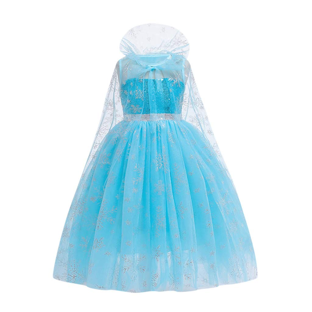 Sameno Girls Embroidery Flower Long Princess Dress Lace Tulle Overlay Pageant Party Wedding Cosplay Evening Ball Gown Blue by SamXmasBaby