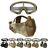 Outgeek Airsoft Mask, Lower Steel Mesh Mask Protective Half Face Mask UV Protection Glasses Comfortable and Cool Mask Goggles Set for Adult Men Women Children