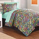 Girl Pink Green Blue Yellow Zebra Twin Comforter Set (6 Pc Bed in a Bag)