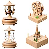 Gold Happy Wooden Music Box Creative Gifts for Kids