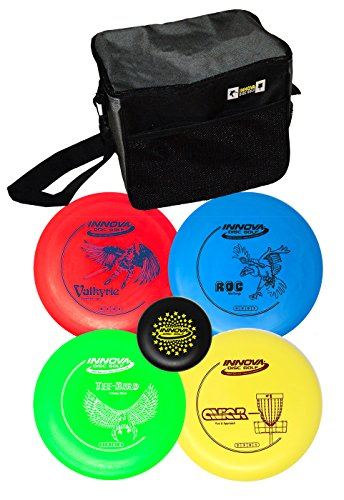 Innova Disc Golf Set with 4 Discs and Starter Disc Golf Bag – DX Distance Driver, Fairway Driver, Mid-range, Putter and Mini Marker - Roc Range Disc Mid Golf