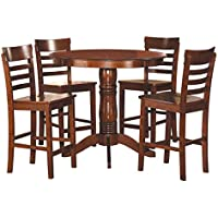 Homelegance Wayland 5-Piece Counter Height Round Dining Set with Pedestal Base, Antique Oak