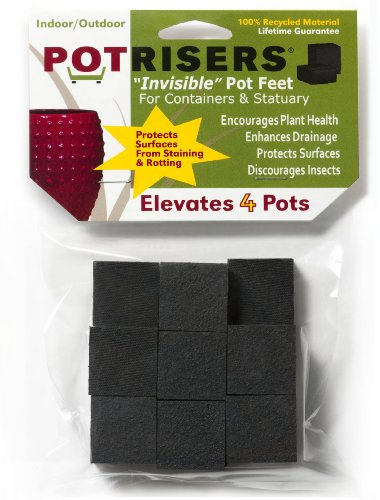 Garden Planters Containers Urns - Potrisers PR16 Invisible Pot Feet Black, 16 Pack  support 4-5 pots