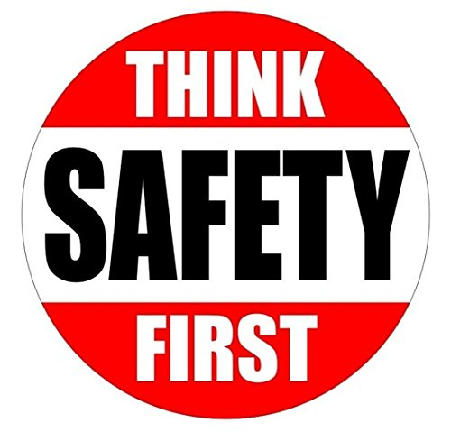 "1 Pc Blameless Popular Think Safety First Car Sticker Hard Hat Decal Safe Work Place Emergency Permit Size 2"" Color Red/Black/White"