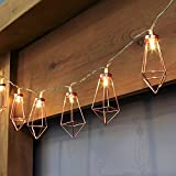 SOMFORT 20 LED Metal Diamond Shape String Lights Rose Gold Decorative Fairy Ambient Lighting for Wedding, Party, Christmas, Home Garden Decoration