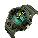 Bounabay Men's Analog Display Sports Military Wrist Watch Multifunctional 5ATM Waterproof Quartz with LED Backlight