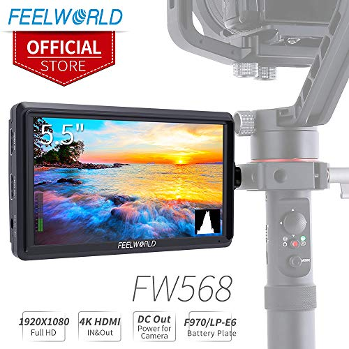 FEELWORLD FW568 5.5 inch DSLR Camera Field Monitor Video Peaking Focus Assist Small Full HD 1920x1080 IPS with 4K HDMI 8.4V DC Input Output Include Tilt Arm by FEELWORLD (Image #9)