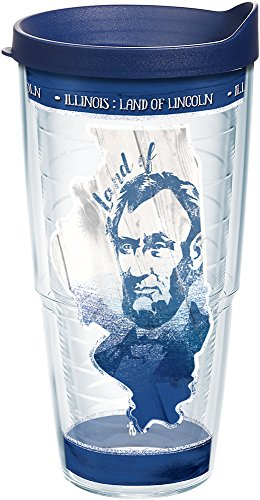 Tervis 1236693 Illinois State Outline Insulated Tumbler with Wrap and Navy Lid 24oz Clear