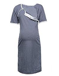 Happy Mama. Womens Maternity Hospital Gown Nightie Polka Dot Breastfeeding. 115p
