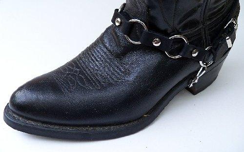 Western / Biker Boot Harness Chains Anelli In Metallo, Pelle Nera