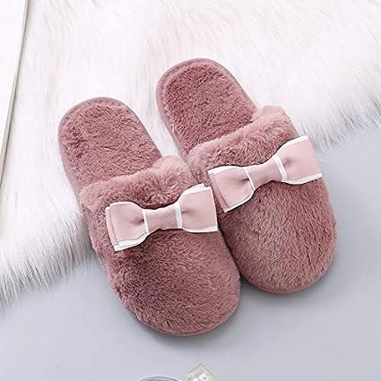 FANQIANNAN Invierno Casa Interior Zapatillas Calientes Lazo Redondo Deslizamiento Plano Zapatillas De Algodón,36/