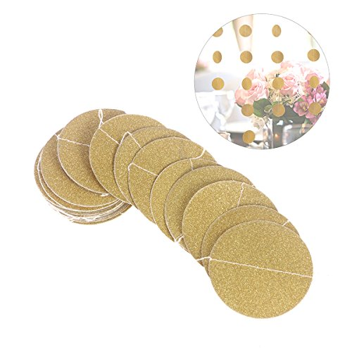 Tinksky 3 M Glitter Paper Garland Circle Dots Hanging Decor for Wedding Bridal Showers Birthday Party Baby Shower Christmas Thanks giving Party(Gold - Garland Round
