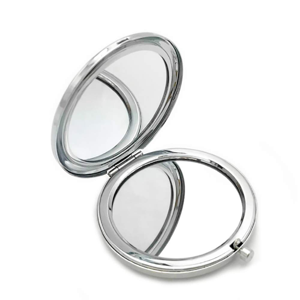 Makeup Mirror Portable Compact Mirror High-Definition Clarity Cosmetic Magnifying Mirror Foldable Double Facettes Pocket Mirror for Travel Purse (Silver) Pingenaneer
