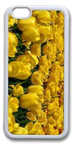 iPhone 6 Plus Cases, Yellow Tulips 3 Custom Protective Soft Rubber TPU White Edge Case Cover for New iPhone 6 Plus 5.5 inch hjbrhga1544