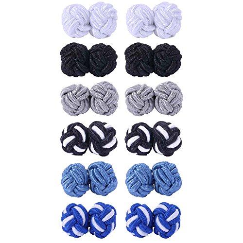 - BodyJ4You 12PC Cufflinks Silk Knot Vintage Casual Men Shirt Black White Blue Grey Jewelry Set