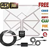 Wsky 65-100 Miles Transparent 2019 Version Digital HDTV Antenna - Best HDTV Indoor Antenna - Upgraded Silver Paddle Extremely High Reception - Support 1080P 4K Super Fun and Free for Life