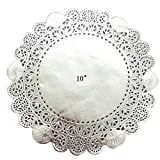 PEPPERLONELY 50 PC Silver Classic Metallic Doilies, 10 inch