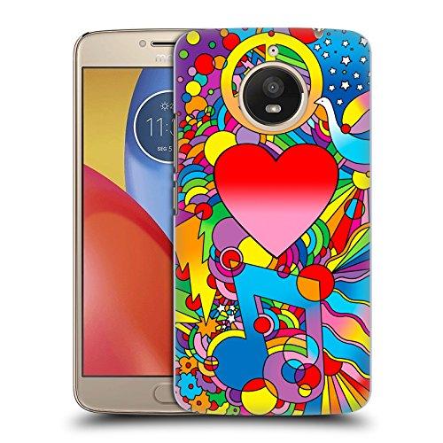 Official Howie Green Peace Love Music Hearts Hard Back Case for Motorola Moto E4 - Culture Official Love