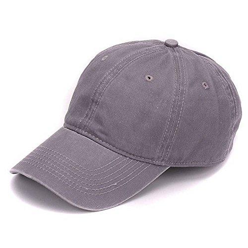 Price comparison product image AKIZON Plain 100% Soft Washed Cotton Vintage Dyed Blank Adjustable Baseball Cap,  Light Grey