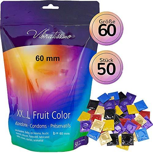 Vibratissimo MiTalla FRUIT COLOR 60mm 50 pack preservativos, condones con sabor y color para una sensacion autentica