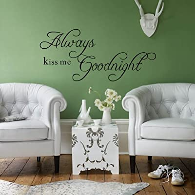 """Always Kiss Me Good Night"" Romantic Love Quotes and Sayings Removable Wall Stickers Home Decor Decals For Living Room Bedroom"
