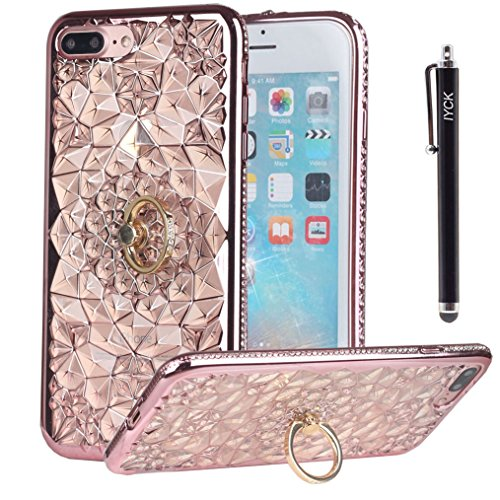 iPhone 8 Plus Case, iPhone 7 Plus Case, iYCK [Crystal Flower] Soft Flexible TPU Rubber Diamond Bling Glitter Case Cover for iPhone 7/8 Plus 5.5inch with Rotating Ring Stand Kickstand - Rose Gold