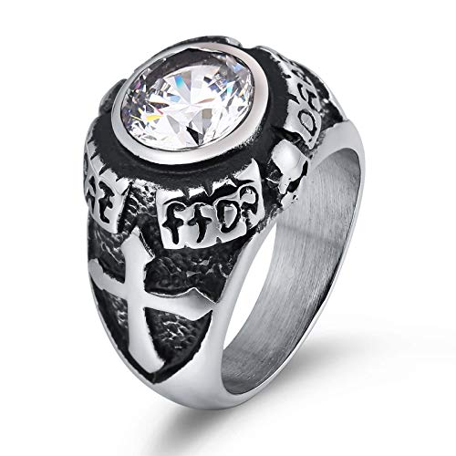 Daesar Stainless Steel Ring for Men Ring Punk Cubic Zirconia Ring Men Engraved Lines Nugget Shape White Gothic Ring Mens Rings Size 8