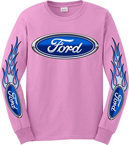 Ford Logo Long Sleeve T-Shirt, XL Pink