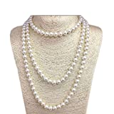 JSEA 57'' Length 8mm Simulated Glass Pearl Long Necklace Multi Layer Statement Necklace Women